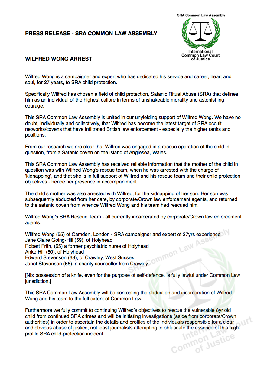 Wilfred Wong SRA Common Law Assembly Press Release - commonlawnews.com